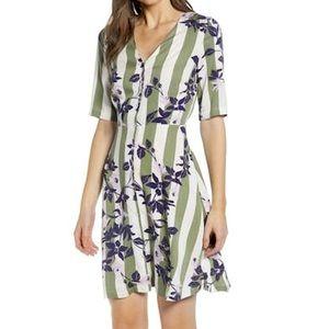 New Vero Moda Stripe Floral Vilja Button Up Dress